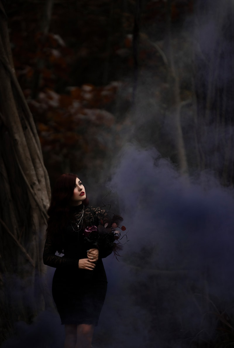 Orange County Portrait Photography, woman in all black in a foggy forest
