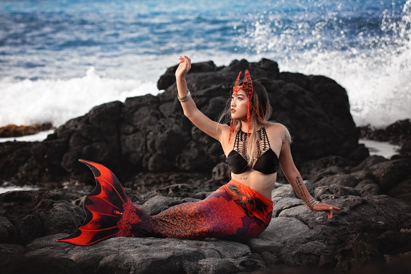 Orange County Portrait Photography, woman in a mermaid costume next to the water