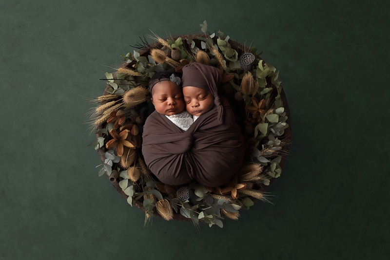 Orange County Newborn Photography, twins wrapped up together and asleep in basket