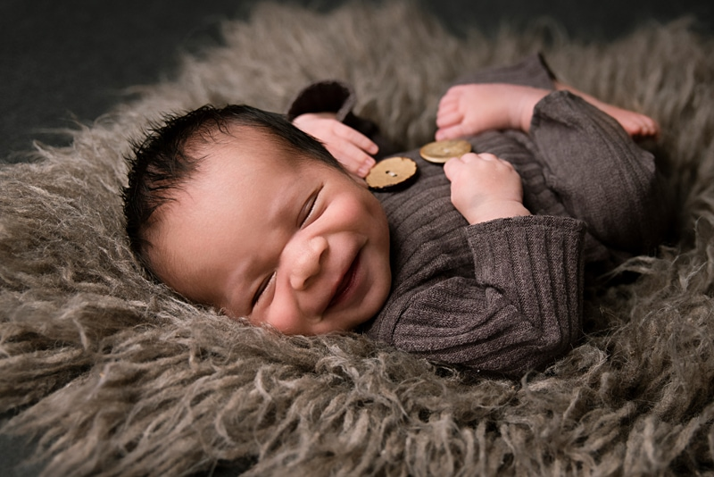 Orange County Newborn Photography, baby smiling in sleep