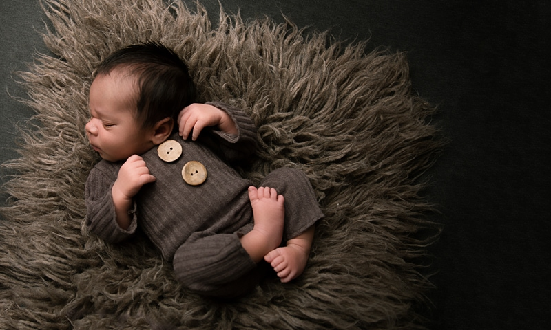 Orange County Newborn Photography, baby on brown shag pillow