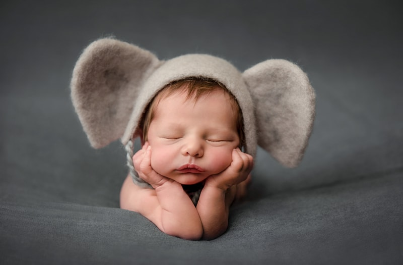 Orange County Newborn Photography, baby in little elephant ears bonnet