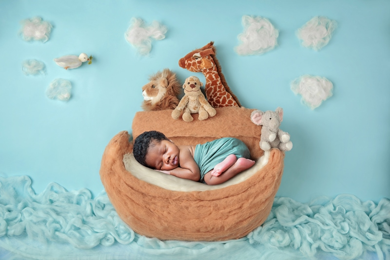 Orange County Newborn Photography, little baby in Noah's Ark set