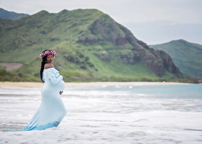 Orange County Maternity Photography, woman in light blue dress standing in the ocean with flower crown