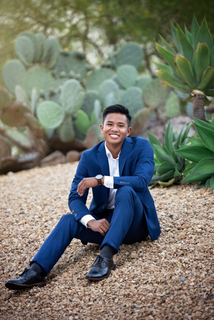 Orange County & Los Angeles Family Photographer, man in suit sitting next to a large cactus